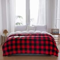 "NEWCOSPLAY Flannel Fleece Throw Blanket Lightweight Soft All Season Use (Checker-Red-Black, Twin(60""x80""))"