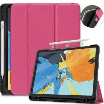 """VORI Case for iPad Pro 11 Inch 2018 with Pencil Holder, Soft TPU Back Cover and Trifold Stand Smart Protective Case with Auto Sleep/Wake for iPad Pro 11"""", Supports 2nd Gen iPad Pencil Charging, Pink"""