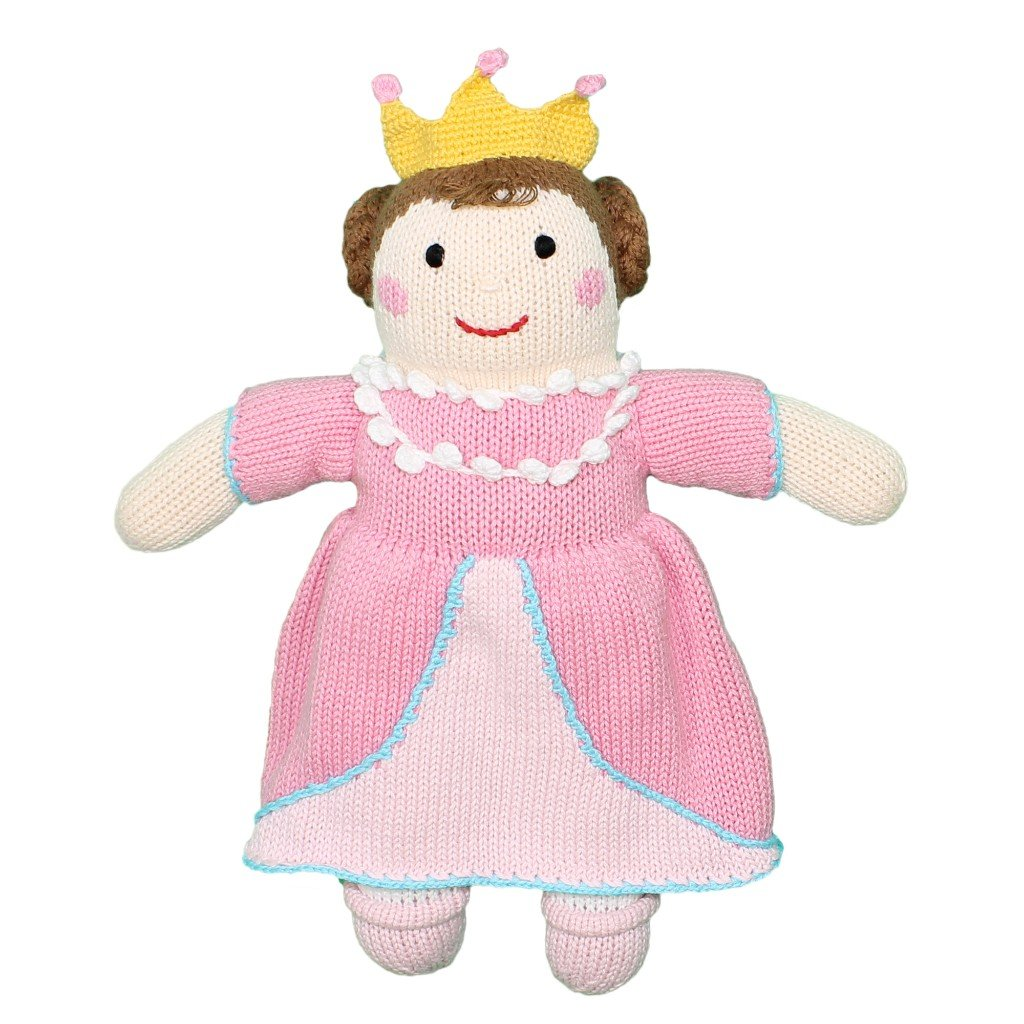 Zubels Baby Girls' Milly The Princess Hand-Knit Rattle Toy, All-Natural Fibers, Eco-Friendly, 7-Inch