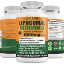 Liposomal Vitamin C 1500mg for Immune Support 180 VIT C Capsule High Dose Ascorbic Acid Vitamin C Powder NonGMO Natural Vegan High Bioavailable Fat Soluble Antioxidant for Collagen Skin & Heart Health