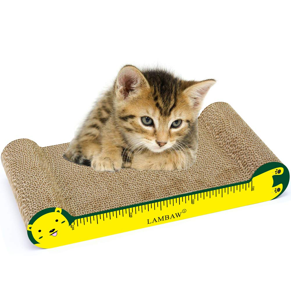 LAMBAW Cat Scratcher for Protecting Furniture 16.54 inches Eco-Friendly Recycled Corrugated Cardboard Cat Scratcher