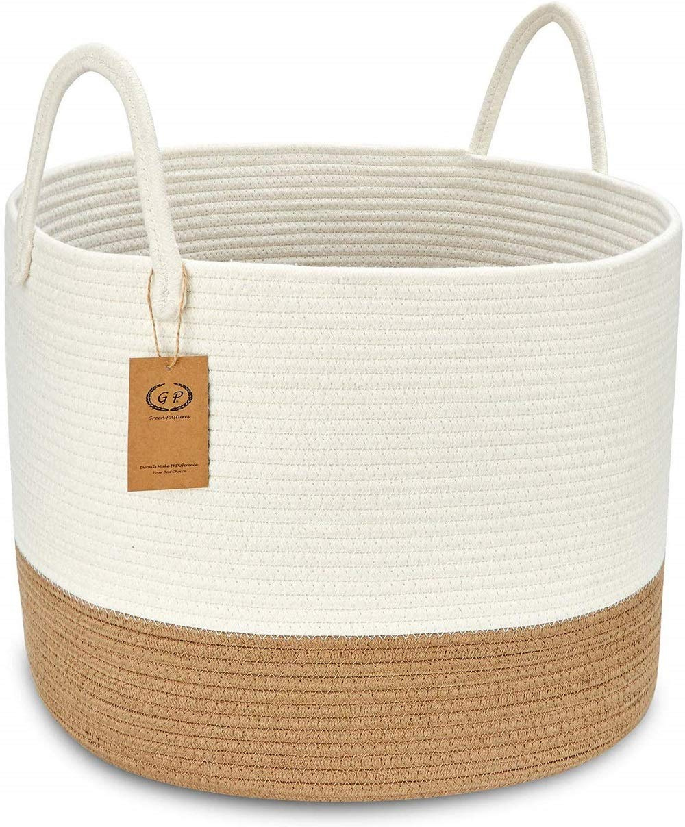 """GreenPastures XXL Woven Laundry Basket with Handles, 20'' x 15"""" Cotton Rope Basket for Organizing Baby Dogs Toys, Decorative Blanket Storage Basket in Living Room (Off White/Brown)"""
