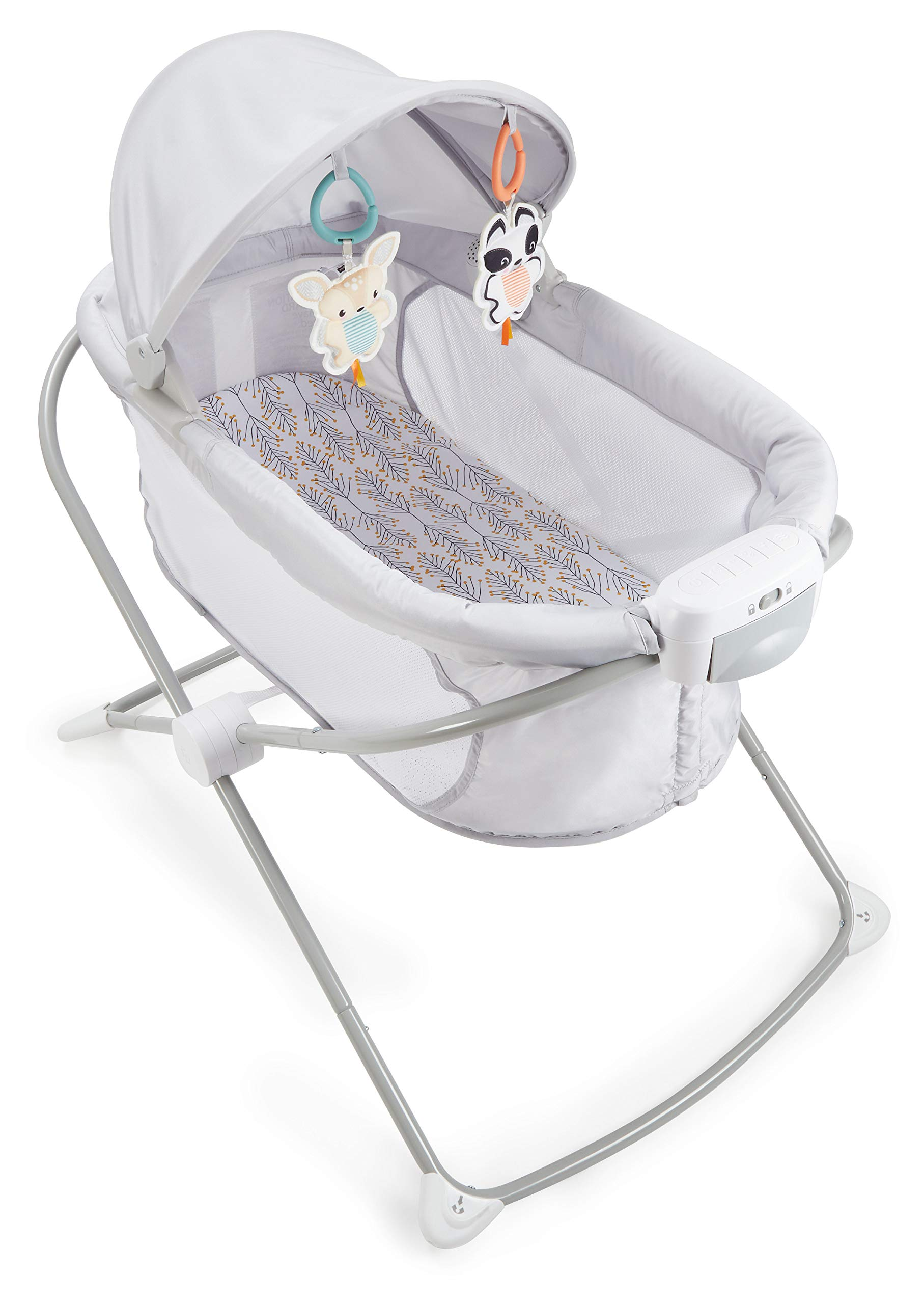Fisher-Price Soothing View Projection Bassinet – Fawning Leaves, Folding Portable Baby Cradle with Projection Light for Newborns and Infants