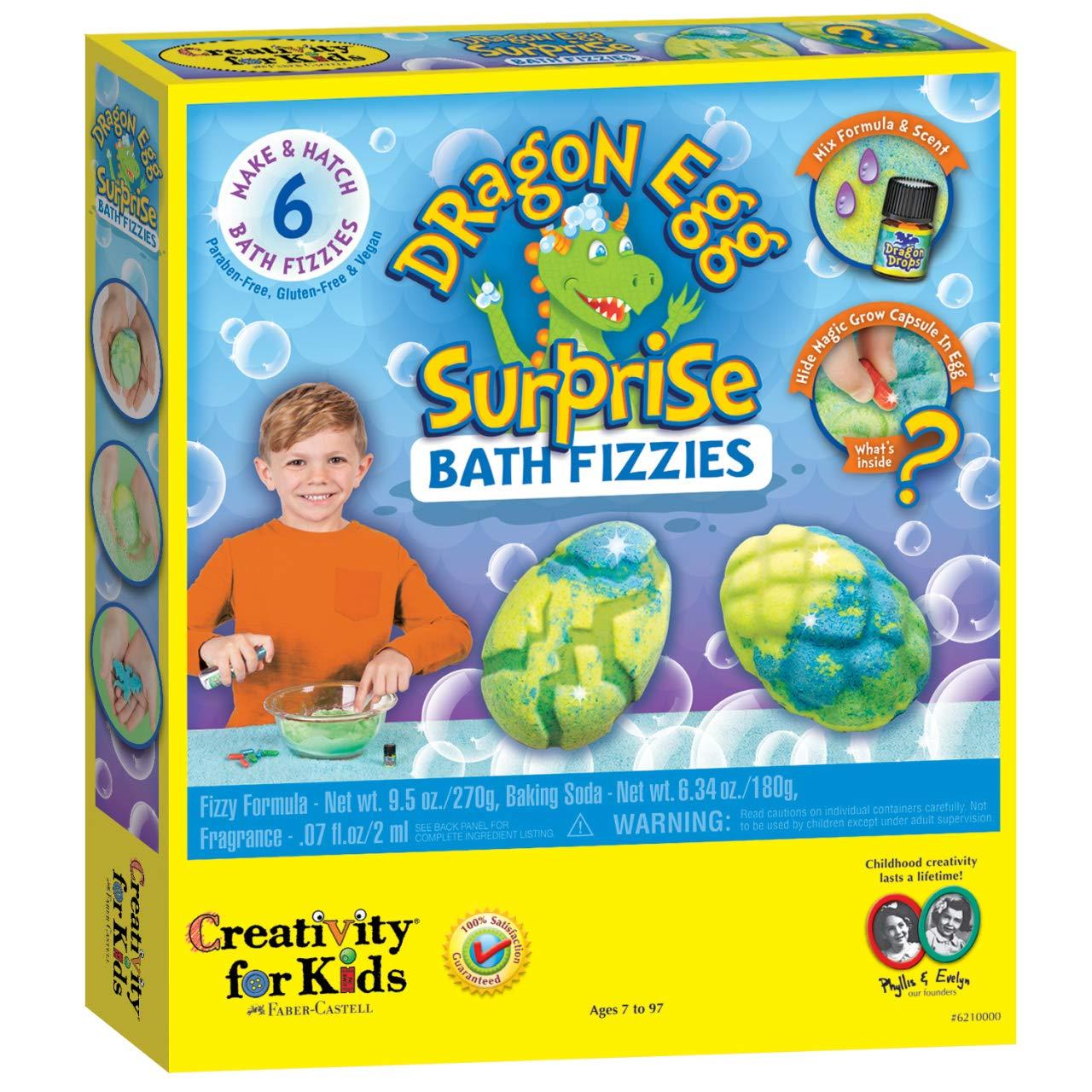 Creativity for Kids Dragon Egg Surprise Bath Fizzies – 6 DIY Bath Bomb Eggs That Hatch