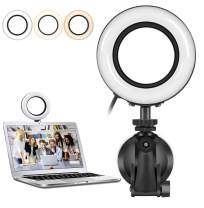 Video Conference Lighting for Remote Working,3200k-6500k Dimmable Led Selfie Ring Lights with Strong Suction,Computer Zoom Light for Live Broadcast/Live Broadcast/YouTube/Tiktok