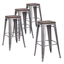 """LCH 30"""" Metal Industrial Counter Height Bar Stools, Set of 4 Backless Indoor-Outdoor Stackable Stool Chairs with Square Elm Wood Seat, Matte Silver Grey"""