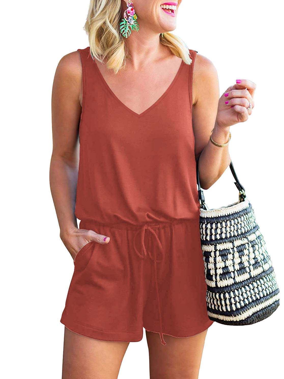 MILLCHIC Women's Summer V Neck Sleeveless Tank Top Spaghetti Strap Drawstring Elastic Waisted Short Jumpsuits Rompers