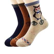 Zando Women's Merino Wool Socks Soft Thick Cold Weather Knit Wool Socks for Women Vintage Winter Warm Socks Cozy Crew Socks Casual Cashmere Sock Owl 6-11(US)