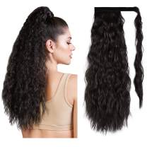 PEACOCO Corn Wave Ponytail for Black Women, 24 Inch Long Wavy Curly Hair Fluffy Pony Tail Hair Piece Magic Paste Synthetic Wrap Around Ponytail Extension (4#)