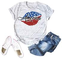 Women's America Red White and Boozy Graphic T-Shirt 4th of July USA Flag Patriotic Tee Shirts