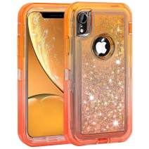 Ballaber iPhone XR Case Glitter Bling Liquid Case for Girls Women Heavy Duty Shockproof Full Body Protective Case Hard PC Bumper and Soft TPU Back Cover for iPhone XR 10R 6.1 inches (Orange Red)