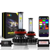 Promax RGB LED Headlight Bulbs Bluetooth controlled 8 Color All-in-One Conversion Kit Size: H11 (H8,H9,H16) - color:3000K, 5000K, 6500K, 8000K, 10000K, Violet, Red, Green