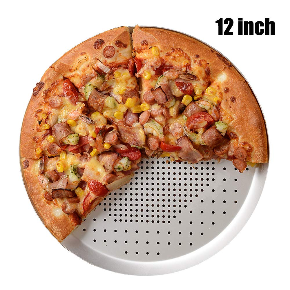 Perforated Pizza Pan 12 Inch, Non-stick Vented Pizza Baking Tray With Holes, Round Pizza Oven Tray Tools Kitchen Cooking Pan Kitchen Accessories (12 Inch - Holes)