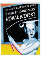 More Homework Teacher Thank You' Big Thank You Card with Envelope 8.5 x 11 Inch - Funny Pin Up Pretty Woman and Chalkboard Pop Art Vintage Design Personalized Thanks Greetings Appreciation J3712TTG