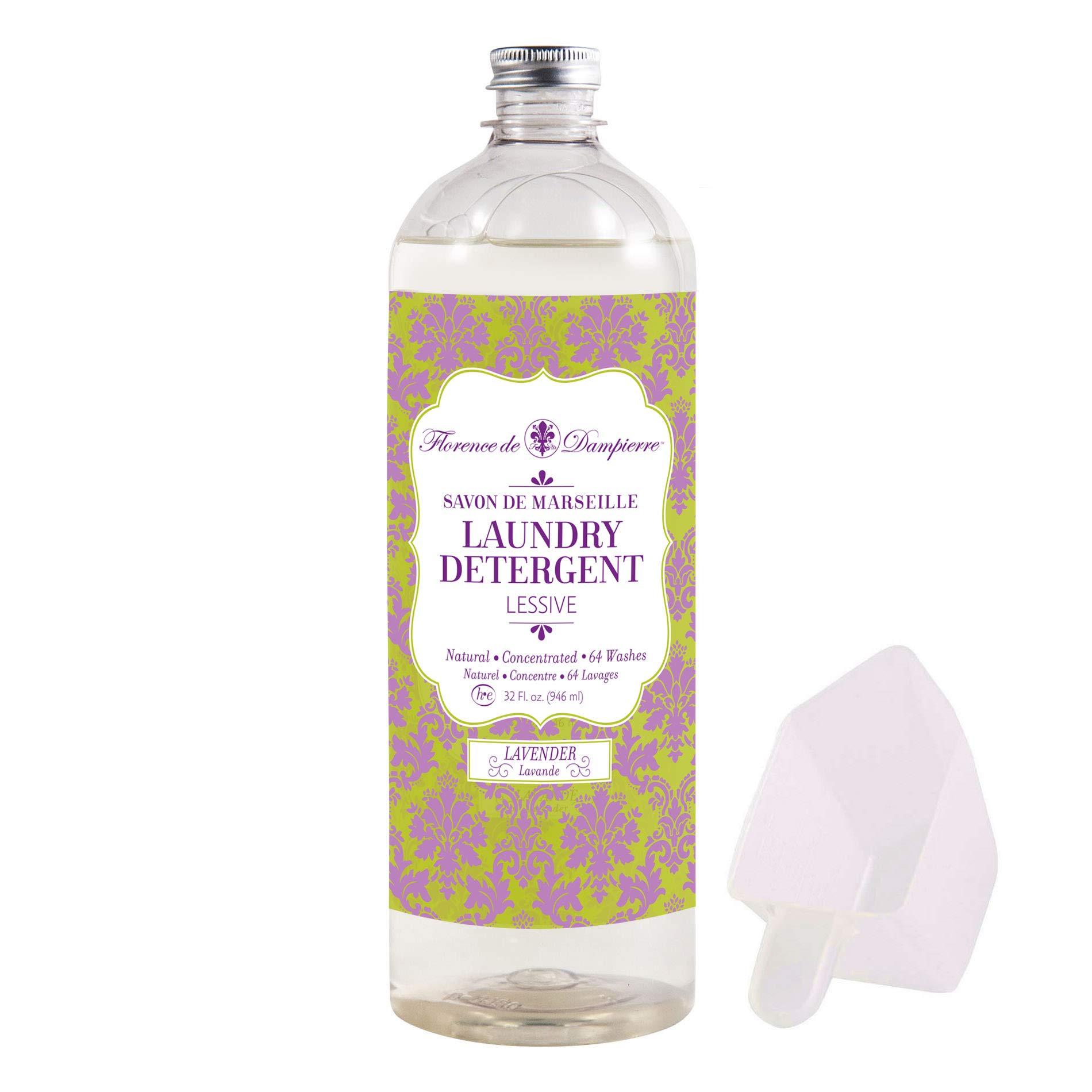 Florence de Dampierre 64 Load, Organic and All-Natural Savon de Marseille Soap, Liquid Laundry Detergent, 32 oz. - Lavender