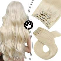 Moresoo Blonde Hair Extensions Clip in Human Hair Real Hair Extensions Clip in Human Hair 12inch #60 Platinum Blonde Clip in Hair Extensions 70G/5Pieces 100% Remy Human Hair Extensions