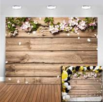 Wood Board Photography Backdrops Wedding Party Decoration Floral Photo Backgrounds Vinyl for Bridal Shower Wooden Banner Supplies Photobooth Studio Props for Children Birthday Wallpaper 5x3ft