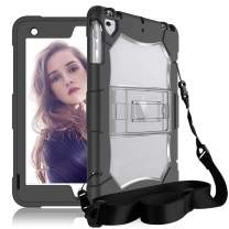 DONWELL iPad 6th Generation Case iPad Case 9.7 inch 2018/2017 with Strap Shockproof Heavy Duty Defender Kickstand Cover Compatible with iPad 5 6 gen iPad Air Model A1954 A1893 A1822 (Clear)
