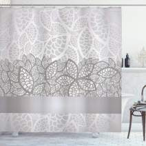 """Ambesonne Grey Shower Curtain, Lace Inspired Flower Motifs Bridal Composition Leaves Wedding Theme, Cloth Fabric Bathroom Decor Set with Hooks, 70"""" Long, Gray Silver"""