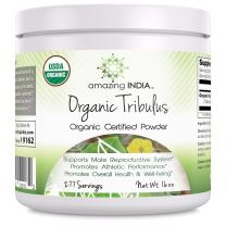 Amazing India USDA Certified Organic Tribulus Powder 16 oz-Raw,Vegan Plant-Based Nutrition Supports Men's Reproductive Health, Promote Lean Muscle Mass, Supports Heart