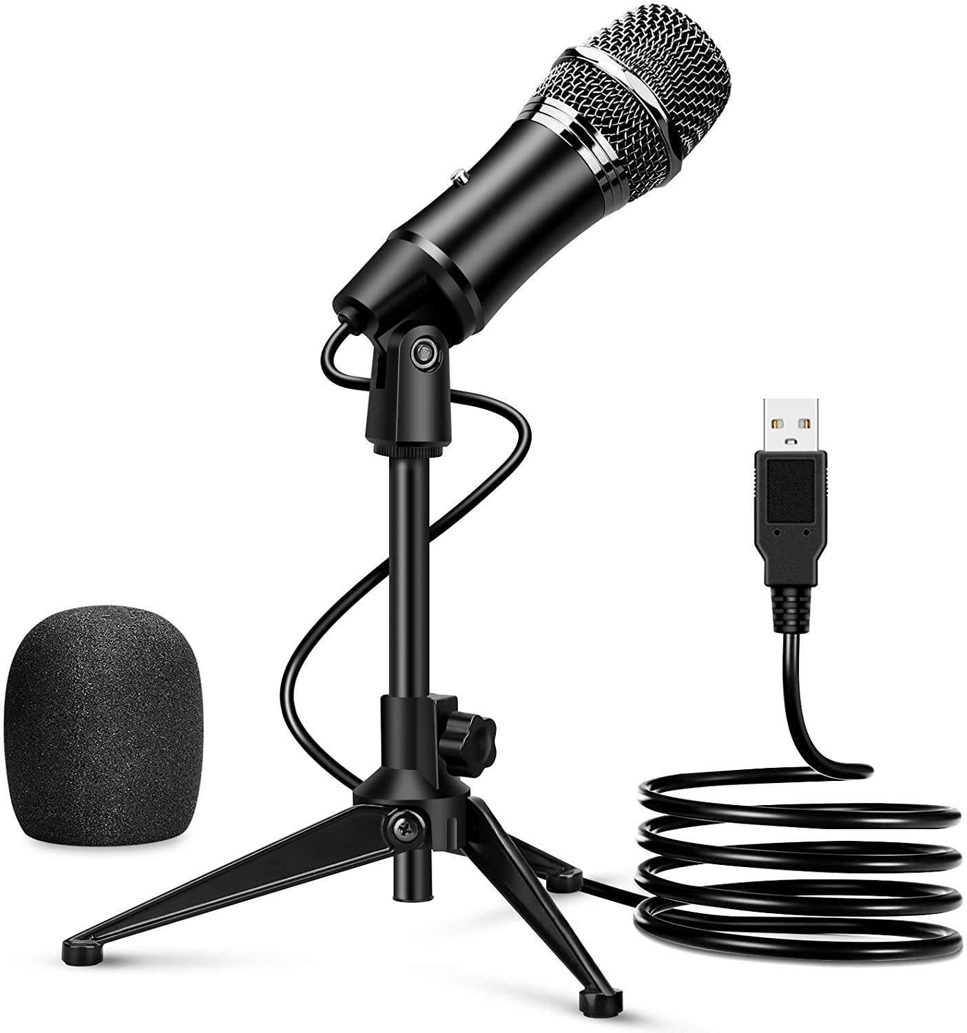 USB Microphone for Computer, Electop Professional Desktop Studio USB Condenser Microphone, PC Mic with Tripod Stand, Plug & Play, Compatible with Home Studio Windows/Mac Computer