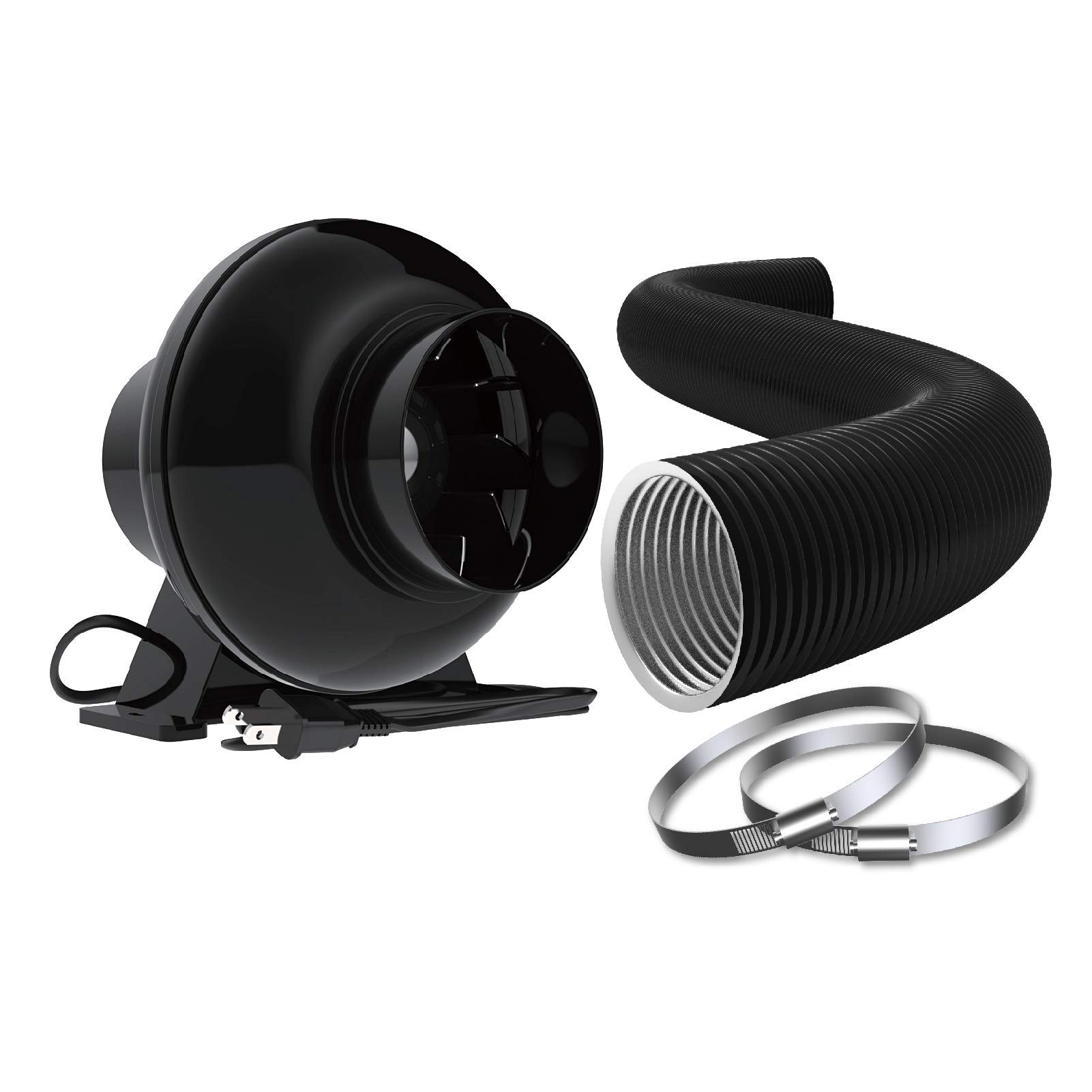 iGrowtek 4 Inch Inline Duct Ventilation Fan and 4 Inch Flexible Aluminum Ducting Bundle