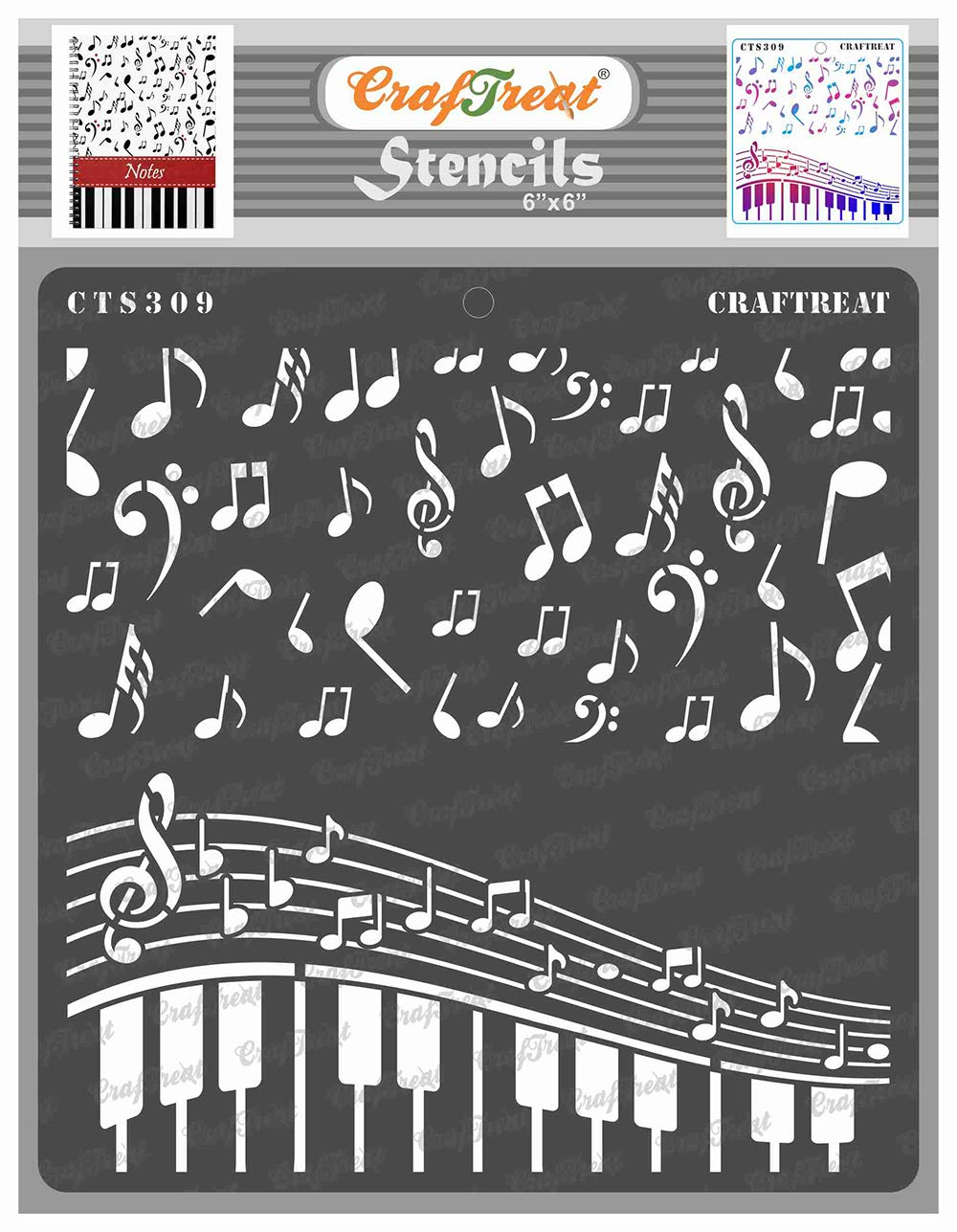CrafTreat Music Stencils for Painting on Wood, Canvas, Paper, Fabric, Floor, Wall and Tile - Musical Stencil - 6x6 Inches - Reusable DIY Art and Craft Stencils - Music Stencil Templates Music