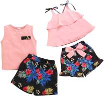 bilison Baby Boy Girl Brother and Sister Matching Outfits Pink Dress Top Vest and Floral Short Pants 2Pcs Summer Clothes Set