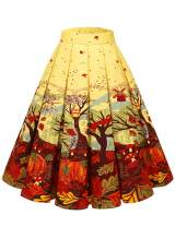 Bridesmay Women's Vintage Pleated Floral Printed A-line Swing Skirt with Pockets