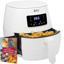 Deco Chef 5.8QT Digital Electric Air Fryer with Accessories and Cookbook- Air Frying, Roasting, Baking, Crisping, and Reheating for Healthier and Faster Cooking (White)