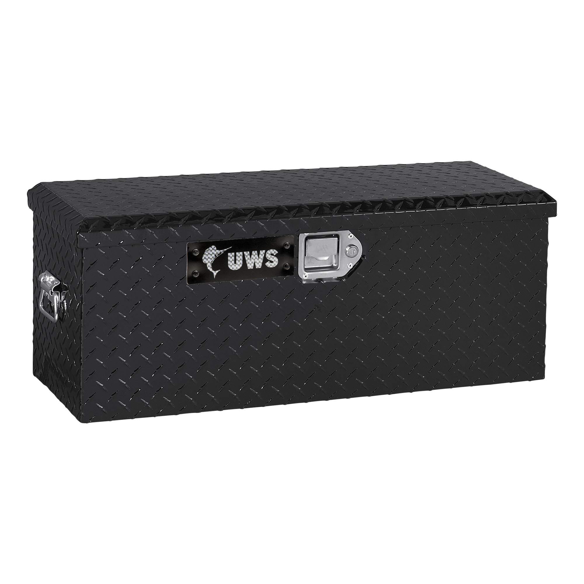 UWS EC20012 32-Inch Gloss Black Heavy-Wall Aluminum ATV Storage Box, RigidCore Lid