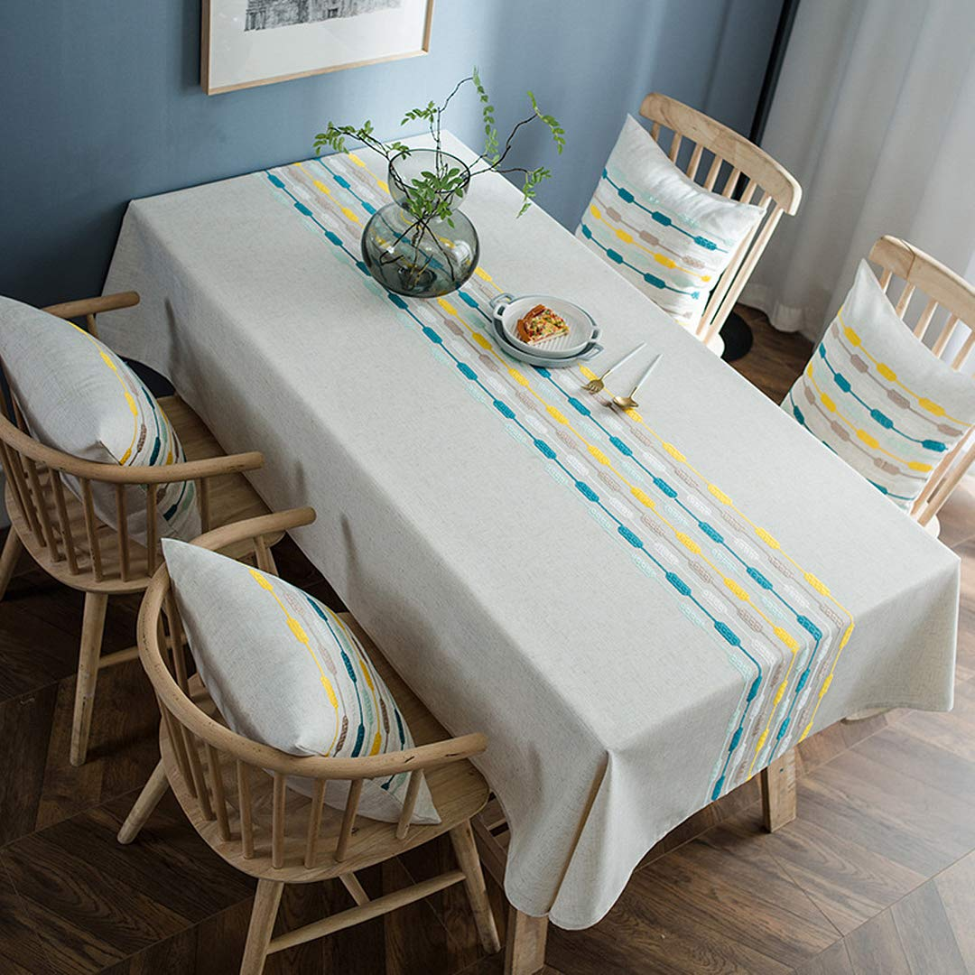 Bringsine Embroidery Tablecloth Heavy Weight Cotton Linen Fabric Dust-Proof Water-Proof Table Cloth Cover for Kitchen Dinning Tabletop Deco Green and Yellow Line(Rectangle/Oblong, 53 x 87Inch)