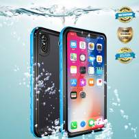 EFFUN iPhone X Waterproof Case, Wireless Charging Support IP68 Certified Waterproof Shockproof Case with Phone Holder, PH Test Paper, Stylus Pen, Floating Strap White/Pink/Aqua Blue/Black/Light Blue