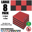 Arrowzoom New 8 Pack of 19.6 X 19.6 X 1.1 Inches Black and Red Convoluted Foam Insulation Egg Crate Acoustic Wall Padding Studio Foam Tiles AZ1052 (Black & RED)