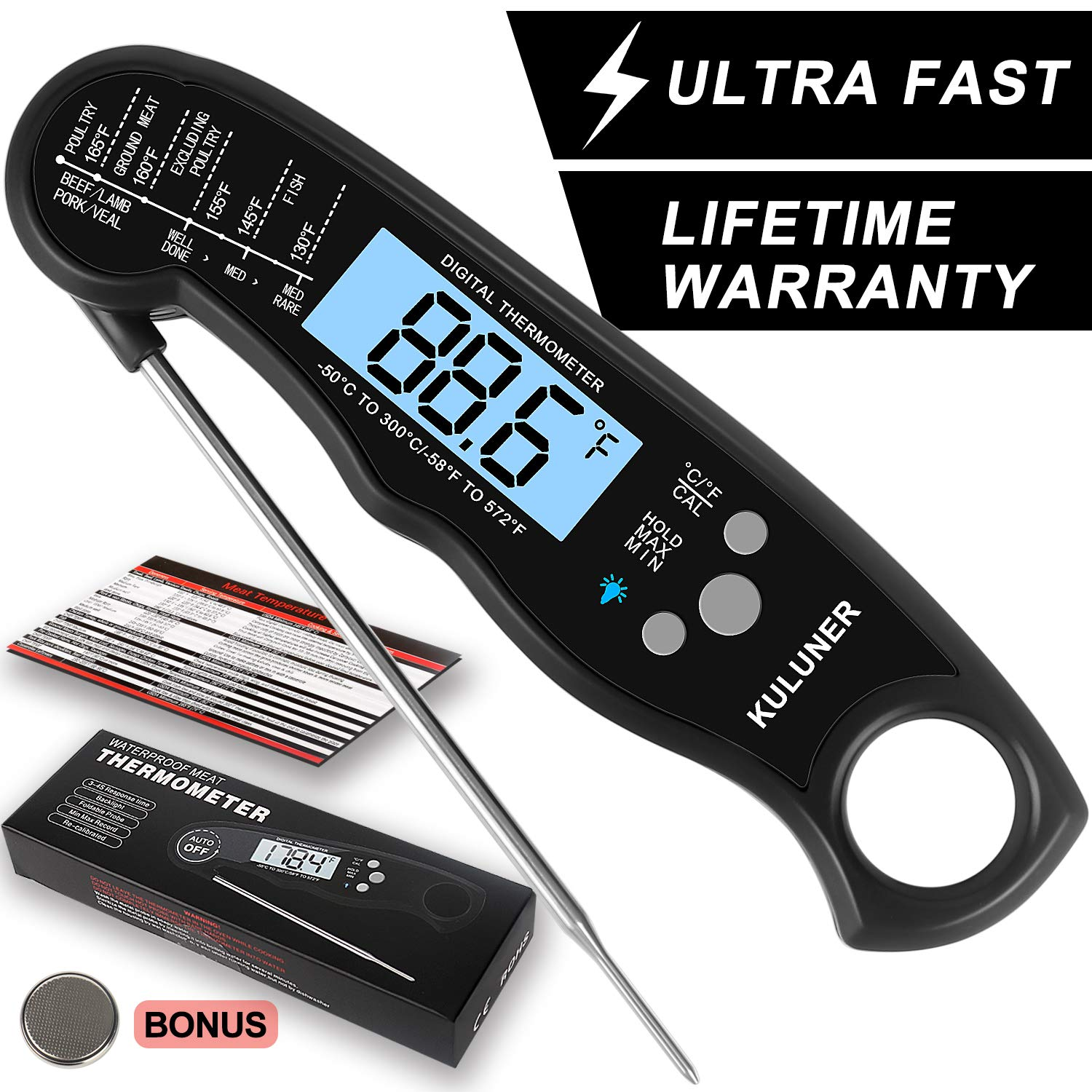 """KULUNER Waterproof Digital Instant Read Meat Thermometer with 4.6"""" Folding Probe Backlight & Calibration Function for Cooking Food Candy, BBQ Grill, Liquids,Beef(black)"""
