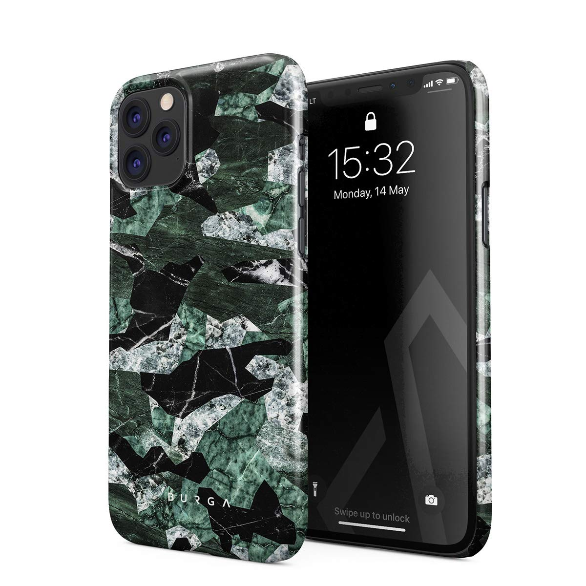 BURGA Phone Case Compatible with iPhone 11 PRO MAX - Jade Green Military Forest Marble Camo Camouflage Cute Case for Women Thin Design Durable Hard Plastic Protective Case