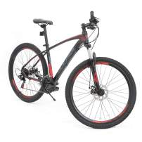 Murtisol Aluminum Mountain Bike 27.5 inches Hybrid Bicycle with Dual Disc Brake, Shimano 21 Speeds Derailleur, Light Weight Frame, Suspension Fork, Adjustable Seat,Red Black