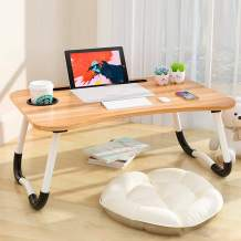 Laptop Bed Table,Portable Lap Desk,Notebook Stand Reading Holder,Notebook Table Dorm Desk with Foldable Legs & Cup Slot,for Eating Breakfast,Reading,Watching Movie on Bed/Sofa