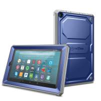 Fintie Shockproof Case for All-New Amazon Fire 7 Tablet (9th Generation, 2019 Release) - Rugged Unibody Hybrid Full Protective Bumper Cover with Built-in Screen Protector, Navy