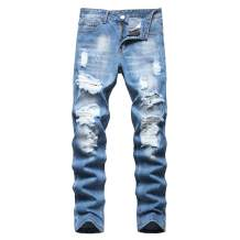 Liuhond Men's Ripped Distressed Destroyed Straight Fit Washed Denim Jeans