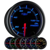 "GlowShift Black 7 Color 100 PSI Oil Pressure Gauge Kit - Includes Electronic Sensor - Black Dial - Clear Lens - for Car & Truck - 2-1/16"" 52mm"