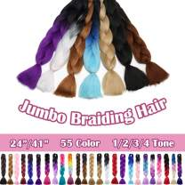 SEGO 24 Inch Jumbo Braiding Hair Kanekalon Jumbo Braid Hair Extensions African Long Jumbo Braids for Box Braids Crochet Hair High Temperature Synthetic Fiber Single Color Ash Blonde 3 Bundle