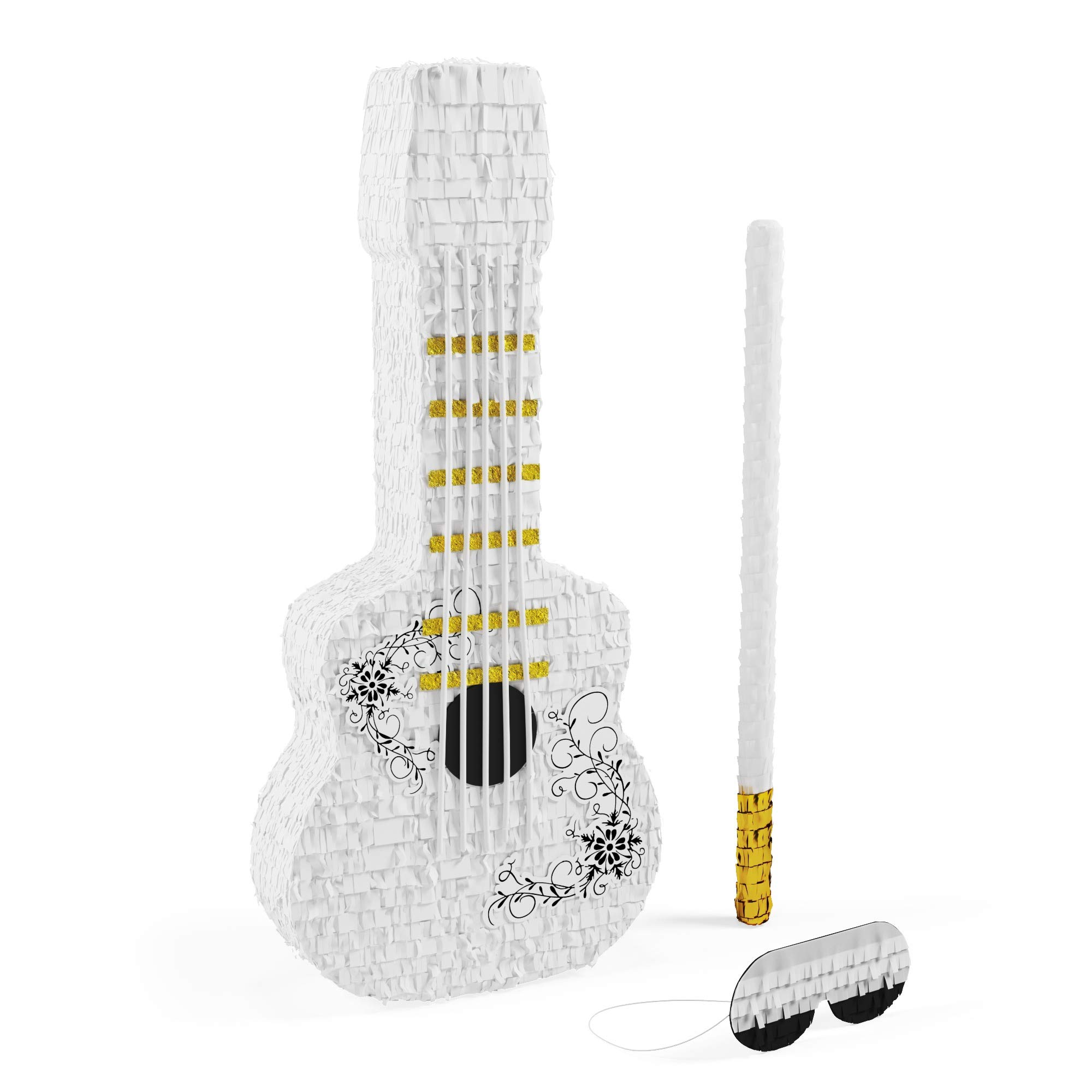 Guitar Piñata Bundle with a Blindfold and Bat ― Throw a Pinata Party While Stuck at Home ― The REAL Large Size Piñata that Holds Up to 5 lb of Candy For Birthday Parties, Kids Carnival and Related Eve