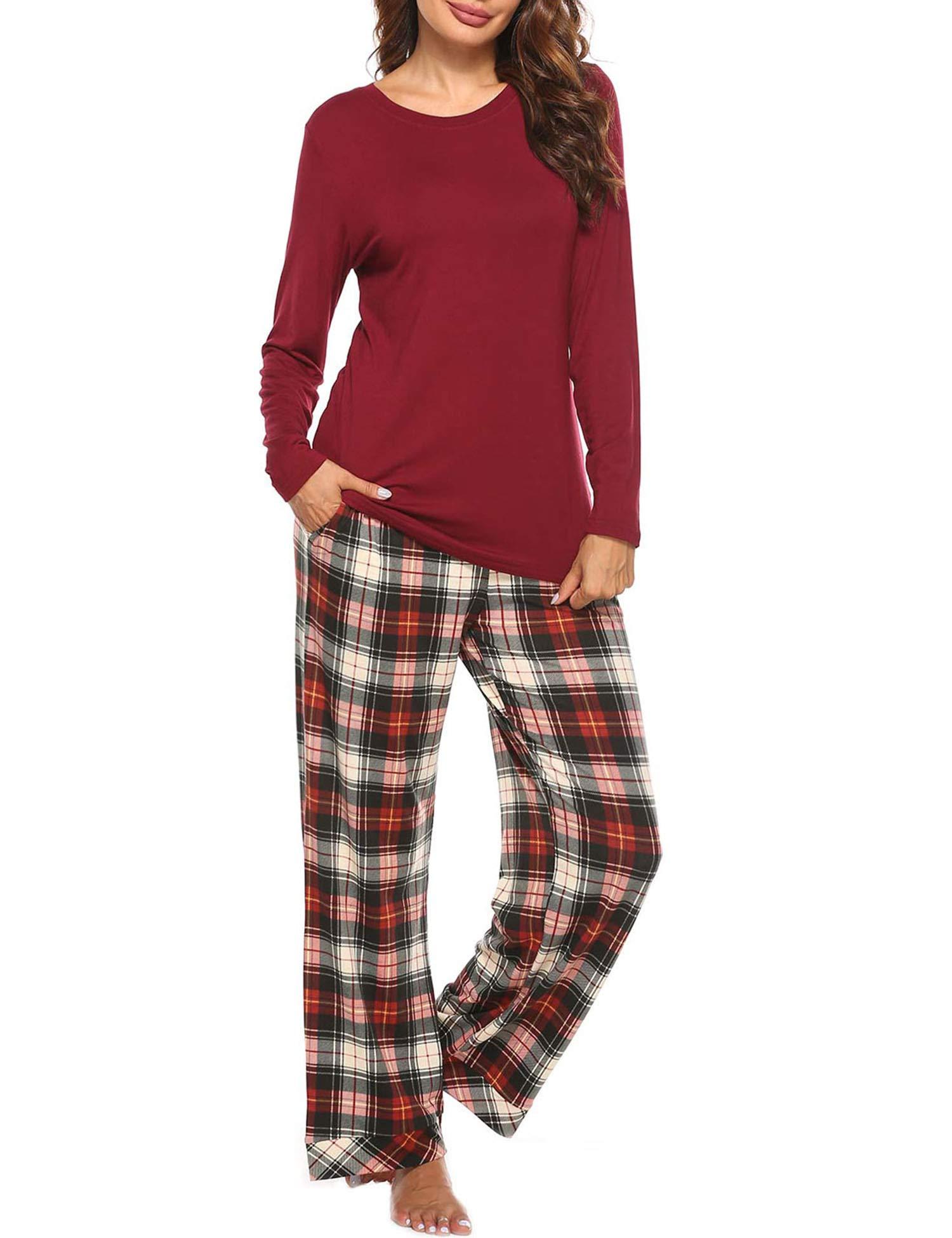 YAWOVE Womens Pajama Set Plaid Long Sleeve Top & Pants Cotton Pjs Sets Sleepwear S-XXL