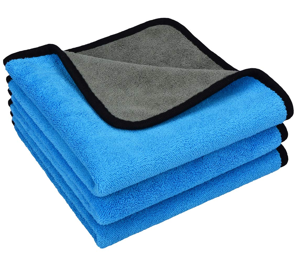 MAYOUTH Premium Microfiber Cleaning Towels Dust Rags Cleaning Cloths Bulk Multi-Functional Wipes Reusable Durable Absorbent for Car Table Window 40cmx40cm (Gray+Blue) 3PACK