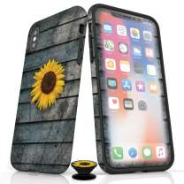 Phone Accessory Bundle for iPhone Xs Max - Screen Protector, Matte iPhone Case, and Cell Phone Grip with Sunflower Design