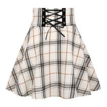 IDEALSANXUN Plaid Mini Skirts for Womens Chic Aline Pleated Short Skater Skirts