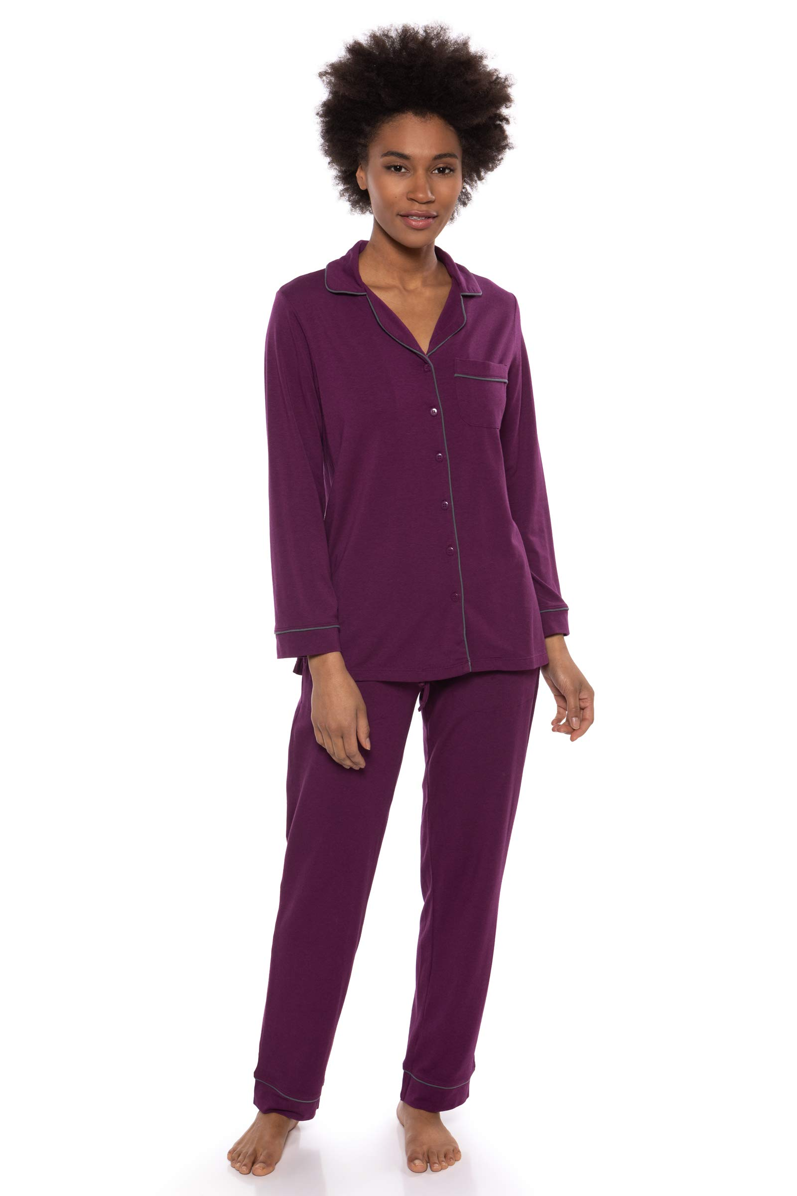 Women's Button-Up Long Sleeve Pajamas - Sleepwear Set by Texere (Classicomfort)