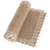 Ling's moment Burlap Hessian Table Runner Jute Rustic Dresser Scarf Summer Fall Wedding Farmhouse Decor Country Table Decorations 12x48 Inch