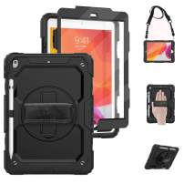 TSQ iPad 7th Generation Case with Pencil Holder Screen Protector iPad 10.2 Case Shockproof Heavy Duty | Hard Durable Rugged Protective Cover w/ 360° Stand Hand Strap Shoulder Strap for Kids | Black